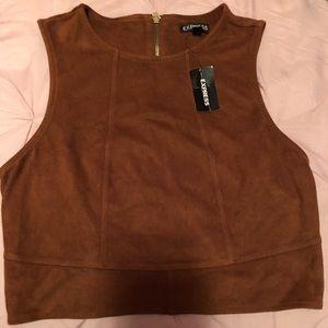 Brown Suede Crop Top with Zip up Back